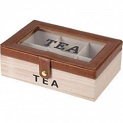 Box na čajové vrecúška s koženkou, 24 x 16 x 8 cm, hnedá